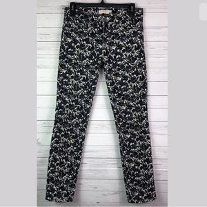 Tory Burch Jeans Floral Print Blue Skinny 25